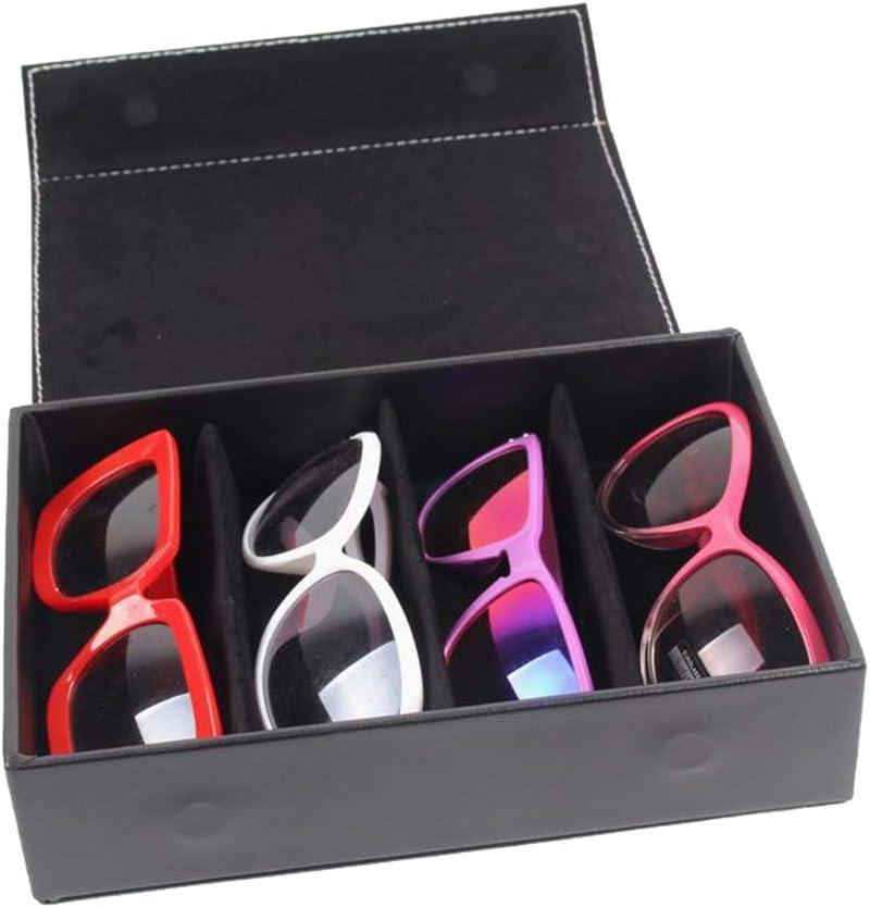Huanlei Sunglass Storage Box Vassoio portaoggetti di visualizzazione degli Occhiali Pelle Occhiali Storage Box (Colore : Rosso) Nero