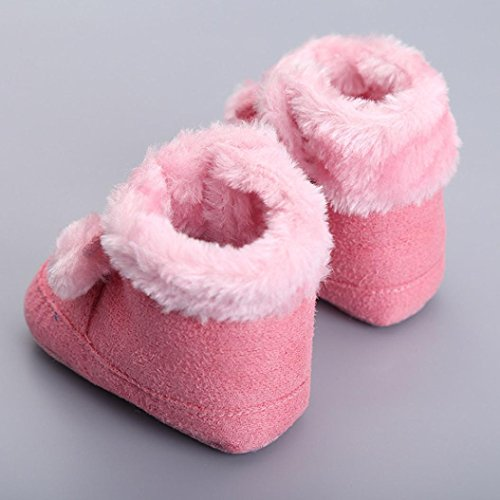 Ouneed® Krabbelschuhe , Nettes Säuglings neugeborenes Baby erstes Wanderer Kleinkind Ebene Baumwollstiefel Schuhe Rosa