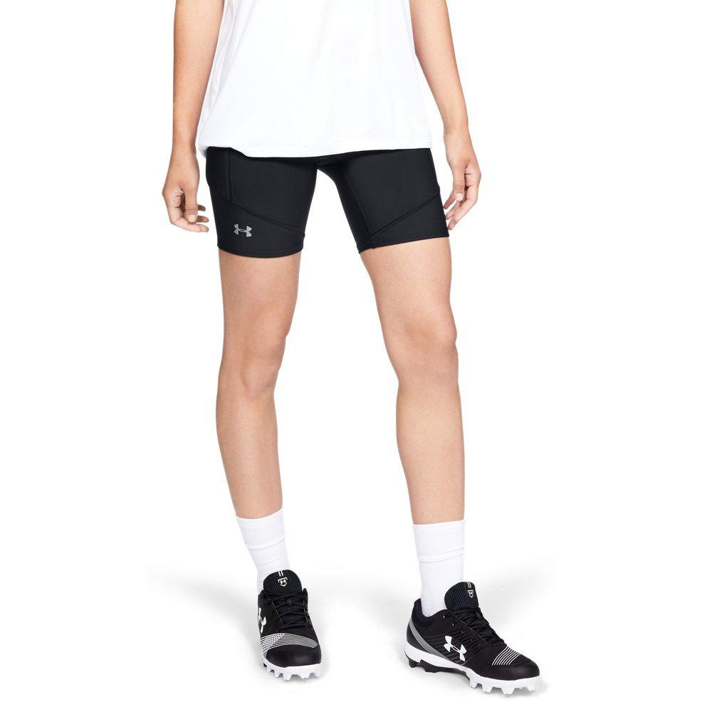 Under Armour Women's Softball Slider, Black (001)/Metallic Silver, X-Small