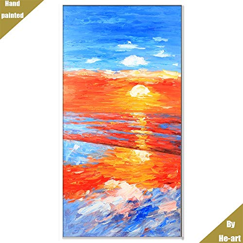 - Impression Sunrise Ocean Oil Paintings Realism sea View Blue Wave Poster Wall Art Decor for livingroom Pure Hand Painted Canvas Landscape Picture Artwork