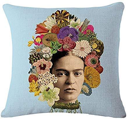 Funda de cojín de Tela Frida Kahlo con Flores Coloridas ...