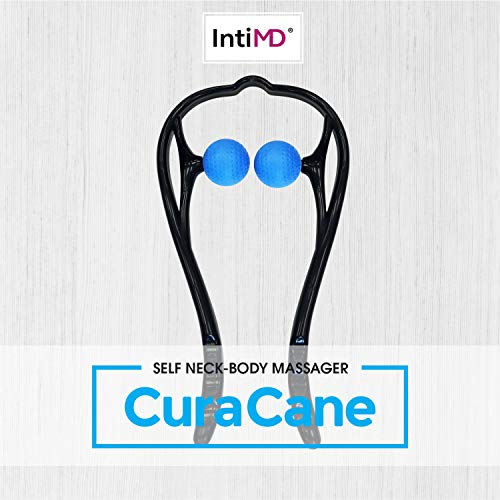 CuraCane Handheld Massager Neck, Back, Shoulders Knees by IntiMD | Тrigger Point Occipital Massage Stick Tool with Balls for Self Muscle Deep Tissue Massage, Relaxation, Tension Relief ● Lightweight