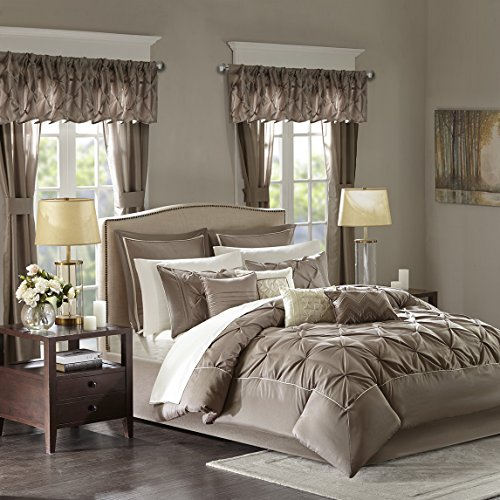 Tufted Comforter Set (Madison Park Essentials Joella Queen Size Bed Comforter Set Room In A Bag - Taupe, Tufted Wrinkled – 24 Pieces Bedding Sets – Faux Silk Bedroom Comforters)
