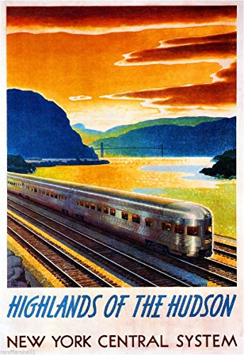 1930s Highlands of the Hudson New York Central System Vintage Railroad Travel Advertisement Poster Print. Measures 10 x 13.5 (New York Central System)