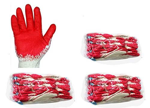 30 Pairs of Red Latex Palm Coated Work Safety Gloves, Rubber Palm Coated Safety Cotton Gloves, Made in Korea (30) (Rubber Coated Gloves Palm)