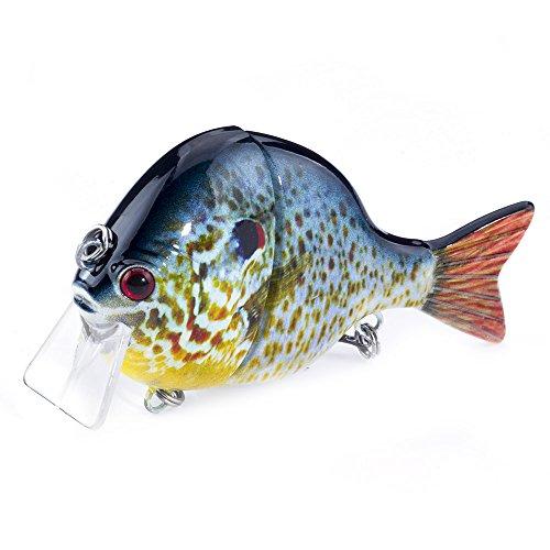 FOVONON Blue Gill Panfish for Bass Fishing Lure, Multi Jointed Topwater Life-Like Sunfish, Trout Swimbait, Hard CrankBaits