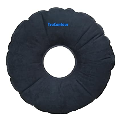 Self Inflatable Donut Cushion For Hemorrhoids Tailbone Coccyx And Prostate Issues Air Plus Memory Foam Easy To Transport Black