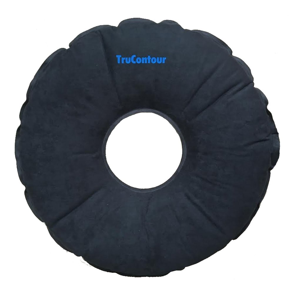 Self Inflatable Donut Cushion for Hemorrhoids, Tailbone, Coccyx, Prostate, Pregnancy, Postnatal and Pressure Sore Issues. Air Pillow Plus Internal Memory Foam Ring. Easy to Transport. (Black) by TruContour (Image #1)
