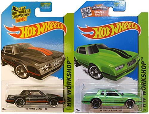 1986 Monte Carlo SS Set Exclusive Amazon Green Version Hot Wheels Workshop Muscle Mania 2 car Variant Set #231 - 2015 In Protective Cases