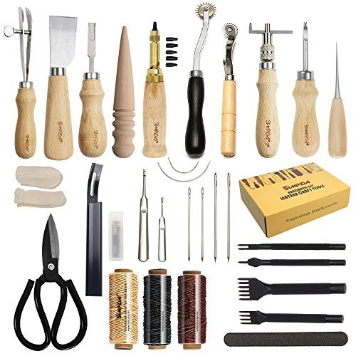 SIMPZIA Leather Working Tools 128 Pieces Leather