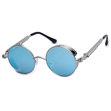 009ee064850b06 Chasingdream Vapor Punk Style Lunettes de soleil à lunette ronde avec étui  pour hommes Cercle de