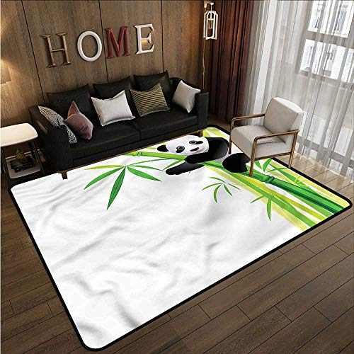 Non-Slip Rug Panda Young Bear Cub and Bamboo Ideal Gift for Children 5'6