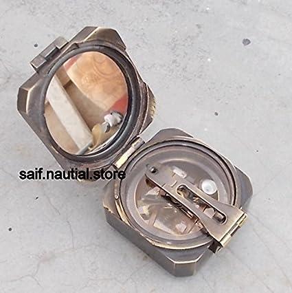 Nautical Brass Square Brunton Compass Vintage Marine