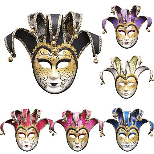 Lumumi Masquerade Full Venetian Mask,Vintage Jolly Joker Venetian Masquerade Mask Costume Christmas Cosplay Mask for Party,Ball Prom,Mardi Gras,Wedding, -