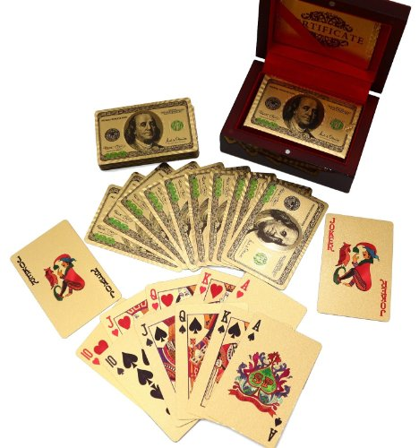 Deck of 24k Gold Foil Plating Poker Plastic Playing Cards with Mahogany Wood Box Includes Certificate of Authenticity Double Sided Color Printed Rendered Etching $100 Benjamin Franklin Logo Design