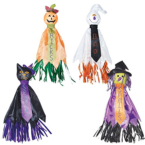 Halloween Decorations Indoor | Hanging Witch Cat Pumpkin Ghosts Decorations | 22 Inches Set of 4 (Hat Hanging Ideas)