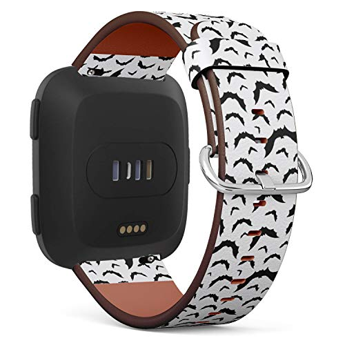 Compatible with Fitbit Versa - Quick-Release Leather Band Bracelet Strap Wristband Replacement - Hallowen Flying Bats]()