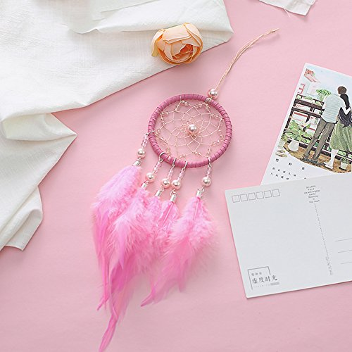 Per Mini Handmade Dream Catchers Wind Chimes Dreamcatcher Net Hanging Decoration Ornament For Room Car (2.713.54in)-Pink by Per (Image #2)
