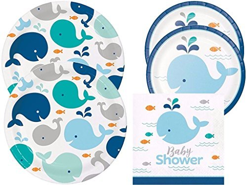 Lil' Spout Blue Whale Baby Shower Plates and Napkins 16 ()