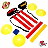 Deluxe Flag Football Gear Set For 10 Players with Heavy Duty Mesh Carry Bag,10 Belts, 30 Adjustable Flags, 4 Goal Corner Cones. Teamwork Training For Kids And Adults (46 Pieces Field Equipment Kit)
