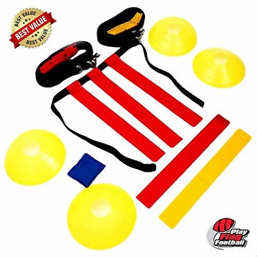 Bears Head Coach (Deluxe Flag Football Gear Set For 10 Players with Heavy Duty Mesh Carry Bag,10 Belts, 30 Adjustable Flags, 4 Goal Corner Cones. Teamwork Training For Kids And Adults (46 Pieces Field Equipment Kit))