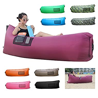 BonClare Fast Inflatable Air Lounger, Camping Bed Beach Sofa Air Bag Hangout Portable Sleeping Bag(purple)