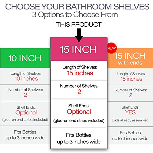 'Invisible' Bathroom Shelf Wall Mounted [2 Pack] 15 inch Clear Acrylic Shelves by Pretty Display. Extra Strong & Easy to Wall Mount