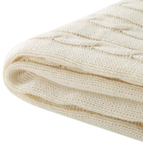 Cotton Cable Knit Blanket - Treely 100% Cotton Cable Knit Throw Blanket Super Soft Warm for Chair Couch Bed(White,50