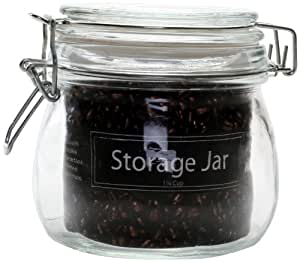 Housewares International 12-Ounce Petite Clear Glass Storage Jar with Snap-Lock Bail Lid and Metal Closures, Round
