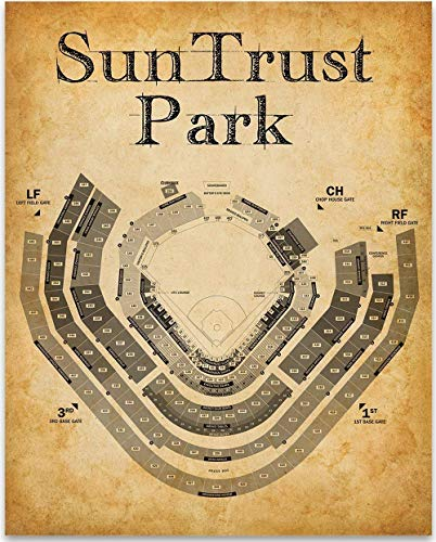 Sun Trust Park of Atlanta Baseball Stadium Seating Chart - 11x14 Unframed Art Print - Great Sports Bar Decor and Gift Under $15 for Baseball Fans