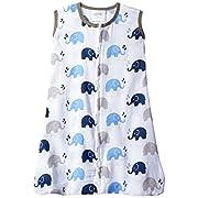 Bacati Elephants wearable blanket, Blue/Grey, Medium