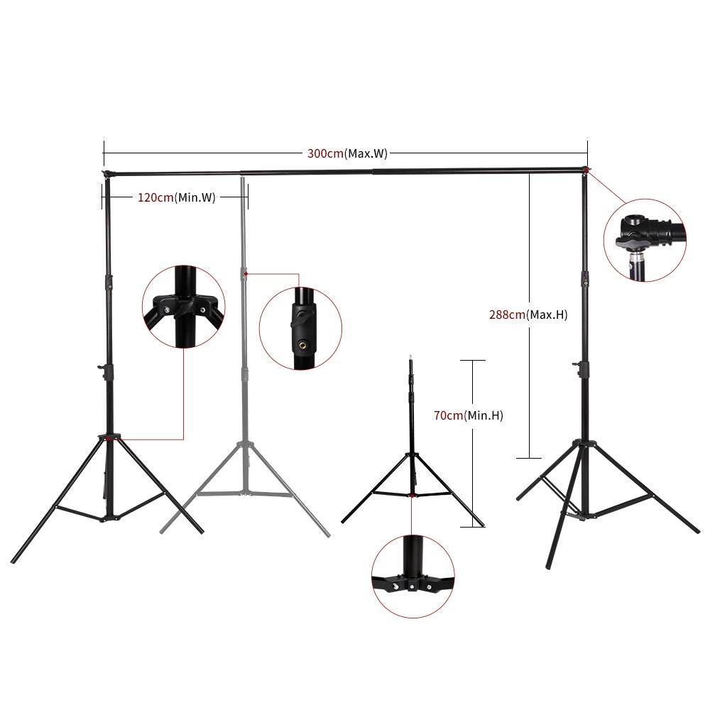 SH Telescopic Tube Background Support Pole and Stand, 9 x 10FT Heavy Duty Background Stand Backdrop Support System Kit with Carry Bag for Photography Photo Video Studio by SH (Image #5)