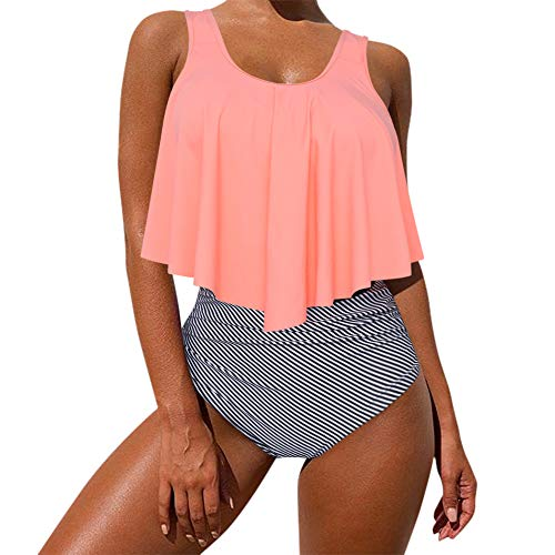 MOOSLOVER Women's Cute Ruffle Bikini Top High Waisted Print Two Piece Swimsuit(M,Pink-Orange)