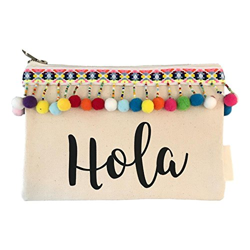 Hola Canvas Pom Pom Cosmetic Bag by The Sleepy Cottage
