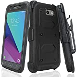 Galaxy J7V Case / J7 (2017) / J7 Perx Case / J7 Sky Pro / Galaxy J7 Prime Case, Heavy Duty Belt Clip Holster, [Built In Screen Protector] Full Body Coverage Rugged Protection For Galaxy Halo - Black