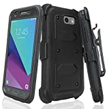 GALAXY WIRELESS For Galaxy J7v Case/J7 (2017)/J7 Perx Case/J7 Sky Pro/Galaxy J7 Prime Case,Heavy Duty Belt Clip Holster [Built In Screen Protector] Full Body Protection For Galaxy Halo - Black