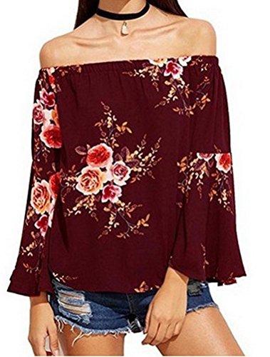 Casual Elastique Floral Grande Bordeaux Taille Bustier Blouse Loose Shirt Top T BIUBIONG Chemise Femme Imprim OgPW6q67v
