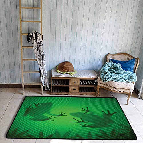 - Bath Rug Animal Frog Shadow Silhouette on The Banana Tree Leaf in Tropical Lands Jungle Games Graphic Hard and wear Resistant W59 xL71 Green