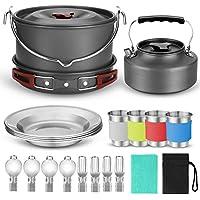 Odoland 10pcs Camping Cookware Mess Kit, Lightweight Pot...