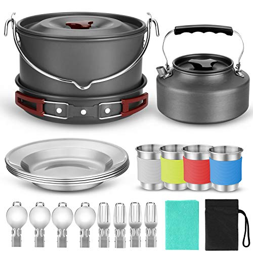 Odoland 22pcs Camping Cookware Mess Kit, Large Size Hanging Pot Pan Kettle with Base Cook Set for 4, Cups Dishes Forks Spoons Kit for Outdoor Camping Hiking and -