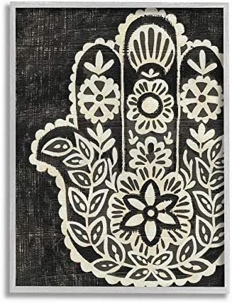 Stupell Industries Floral Pattern Black and White Hamsa Grey Framed Wall Art