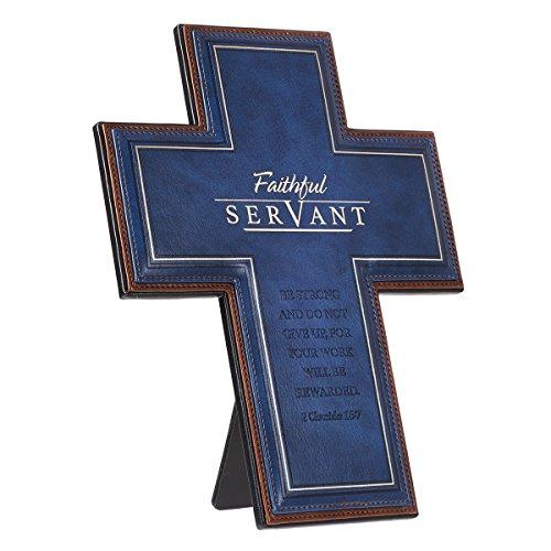 Faithful Cross - Decorative Wall Cross, Faithful Servant, Blue LuxLeather