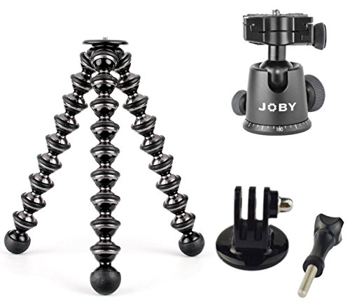 JOBY GorillaPod Flexible Focus Tripod with Detachable Ballhead and a GoPro Mount Adapter For The HD HERO2, HD Hero3, HD Helmet HERO, HD Motorsports HERO, HD Surf HERO, HD Hero Naked and For Action by Joby