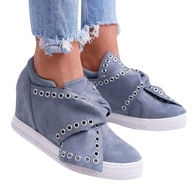 db19795a9f0 Womens Fashion Wedge Boots Retro Tie Metal Hole Round Toe Casual ...
