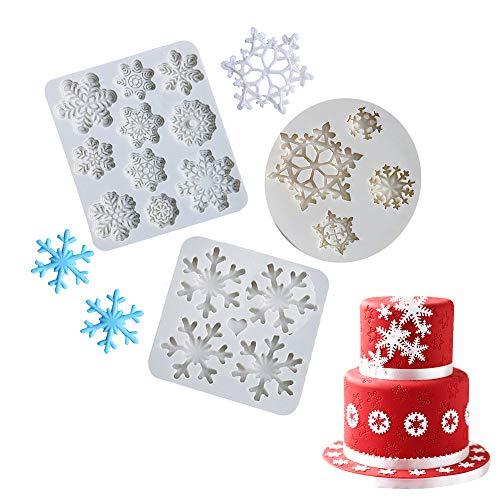 QELEG 3 Pieces Silicone Christmas Snowflake Mold Fondant Mold Chocolate Candy Decorating Mold