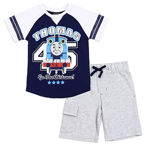 Apparel Train (Thomas and Friends Little Boys' Toddler Baseball Tee and Shorts Set (5T) Navy)