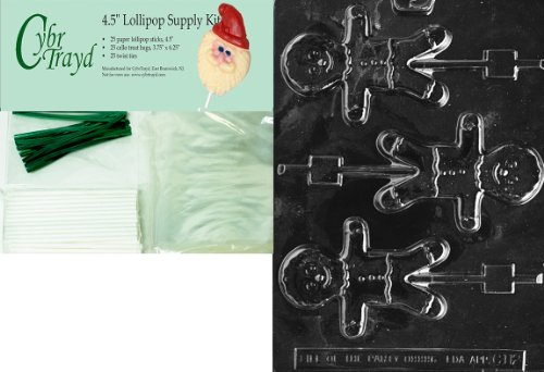 Cybrtrayd 45stK25G-C112 Gingerbread Man Lolly Christmas Chocolate Mold with Lollipop Kit, Includes 25 Lollipop Sticks, 25 Cello Bags and 25 Green Twist Ties