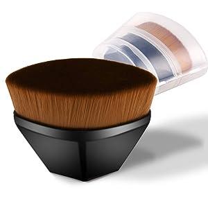 Foundation Brush, Blush Brushes Kabuki Brush for Blending Liquid, Cream or Flawless Powder Cosmetics Tool Simple Operation Seamless Brush with Storage Box (Black)