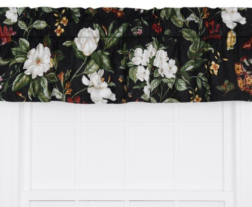 Ellis Curtain Garden Images Large Scale Floral Print Tailored Valance, 50 by 15-Inch, - Garden Valance Tailored