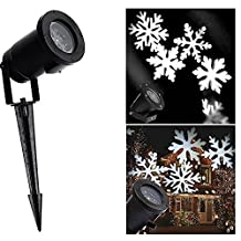 YIBANBAN Christmas Projector Lamp Snowflakes Lamp Moving White Snowflake LED Waterproof Outdoor/Indoor for Christmas Party Holiday Home Decoration Garden (White)